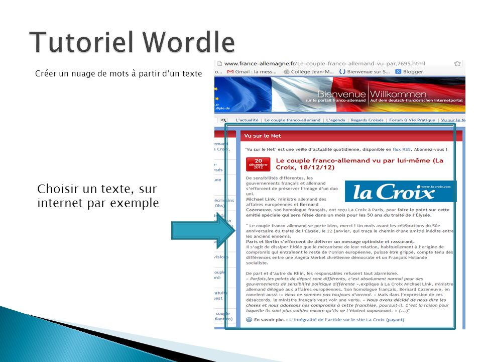 Tutoriel Wordle Choisir un texte, sur internet par exemple