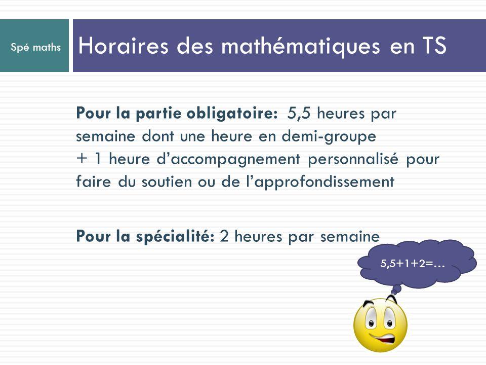 Horaires des mathématiques en TS