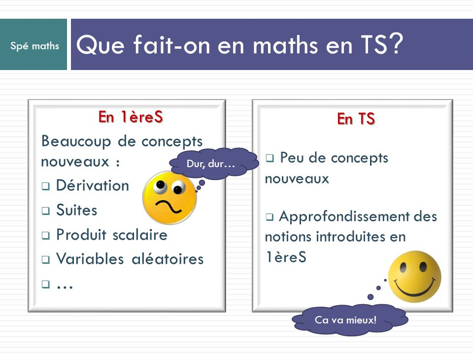Que fait-on en maths en TS
