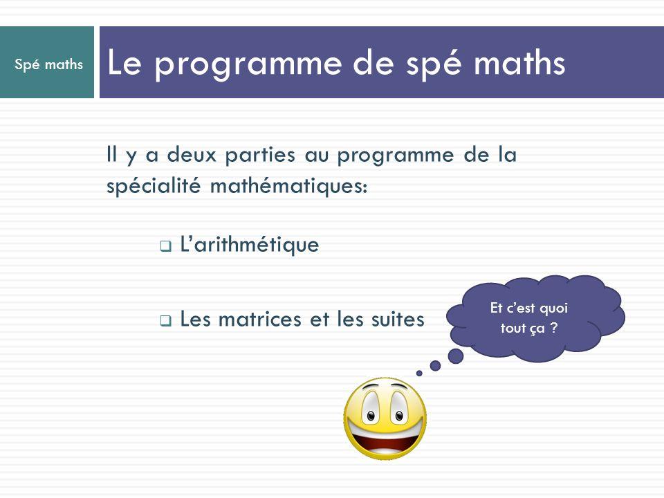 Le programme de spé maths