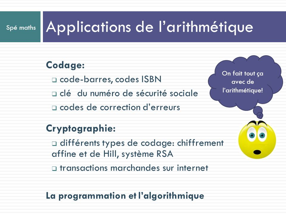 Applications de l'arithmétique