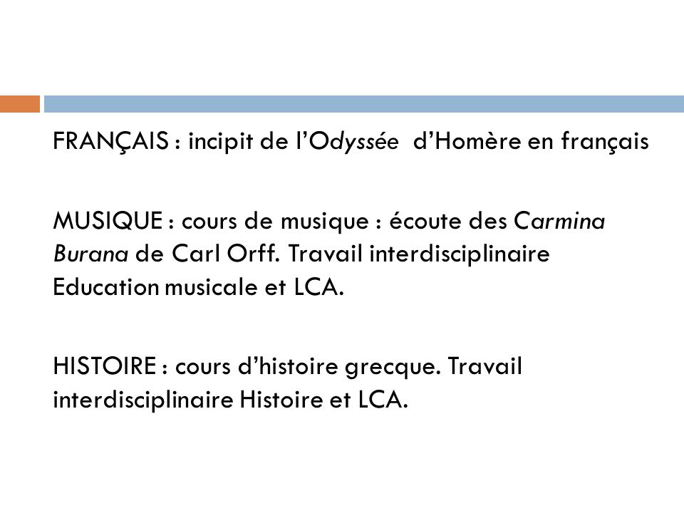 FRANÇAIS : incipit de l'Odyssée d'Homère en français