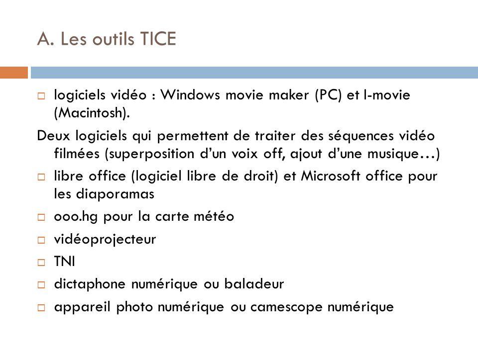 A. Les outils TICE logiciels vidéo : Windows movie maker (PC) et I-movie (Macintosh).