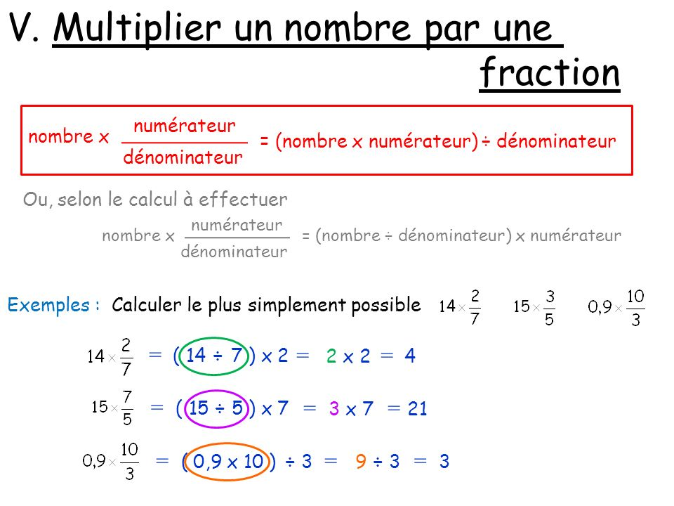 V. Multiplier un nombre par une fraction