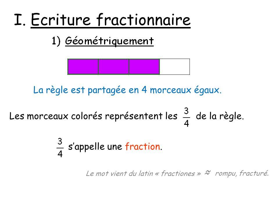 I. Ecriture fractionnaire