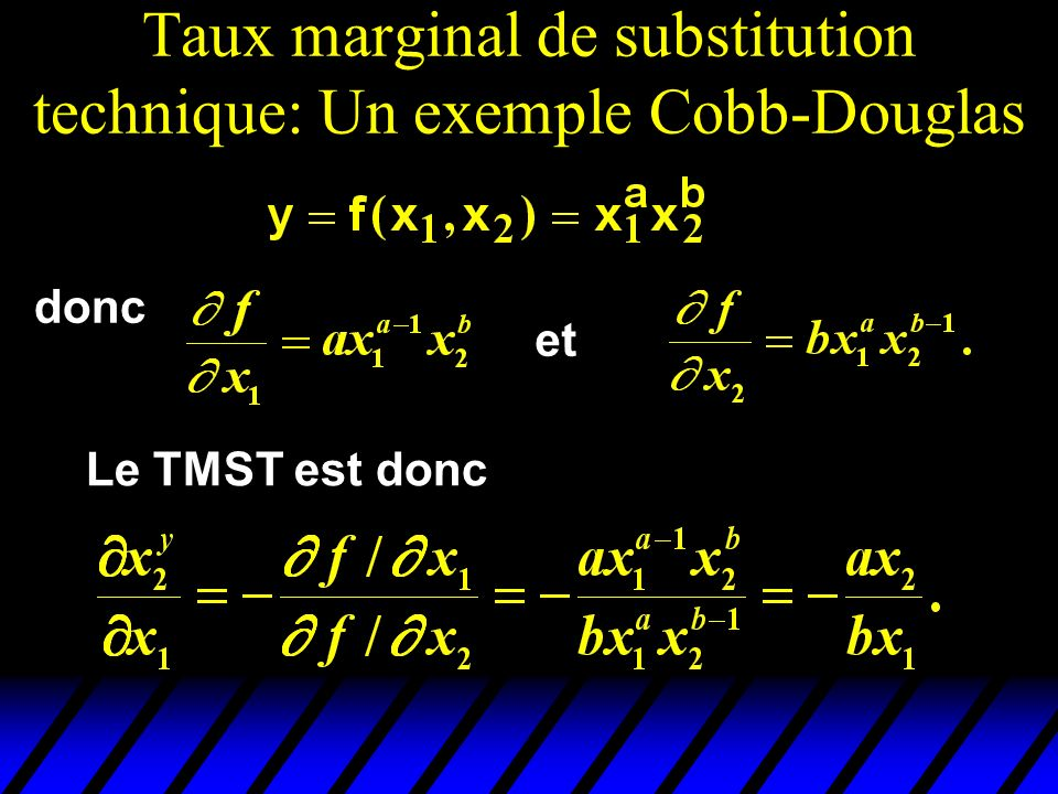 Taux marginal de substitution technique: Un exemple Cobb-Douglas