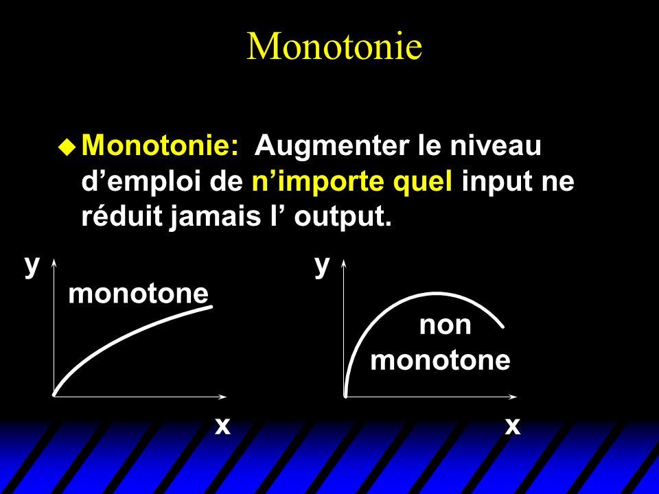 Monotonie Monotonie: Augmenter le niveau d'emploi de n'importe quel input ne réduit jamais l' output.