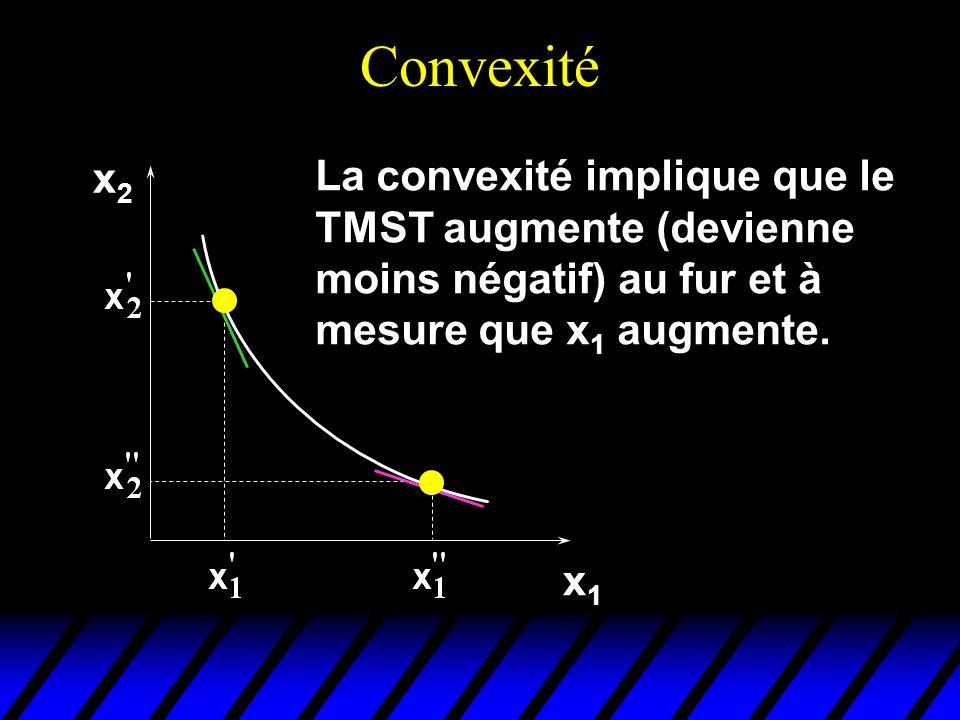 Convexité x2 La convexité implique que le