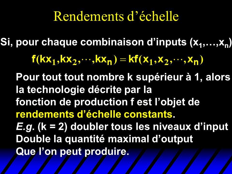 Rendements d'échelle Si, pour chaque combinaison d'inputs (x1,…,xn),