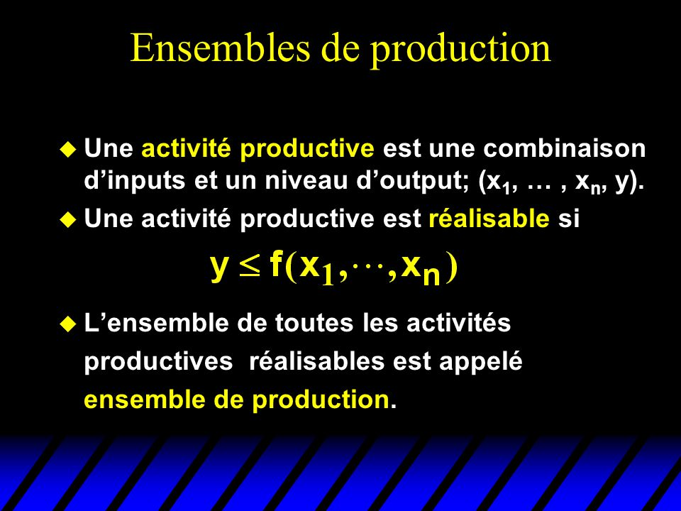 Ensembles de production