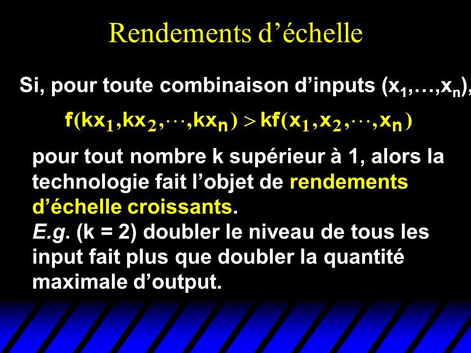 Rendements d'échelle Si, pour toute combinaison d'inputs (x1,…,xn),