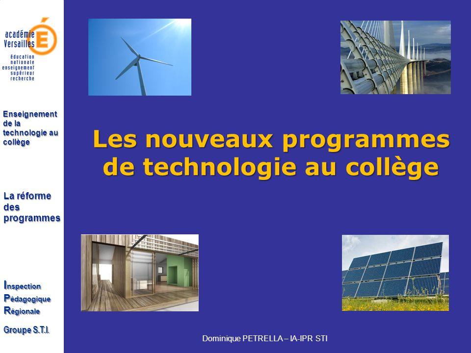 Les nouveaux programmes de technologie au collège