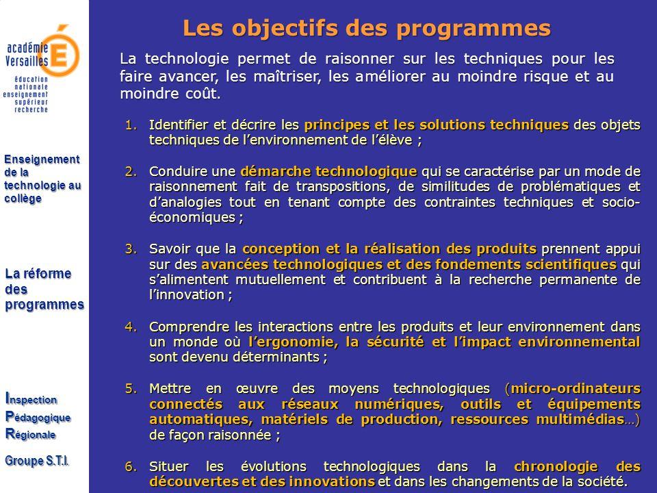 Les objectifs des programmes