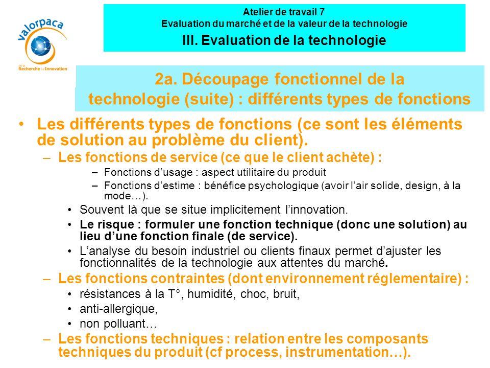 Atelier de travail 7 Evaluation du marché et de la valeur de la technologie. III. Evaluation de la technologie.