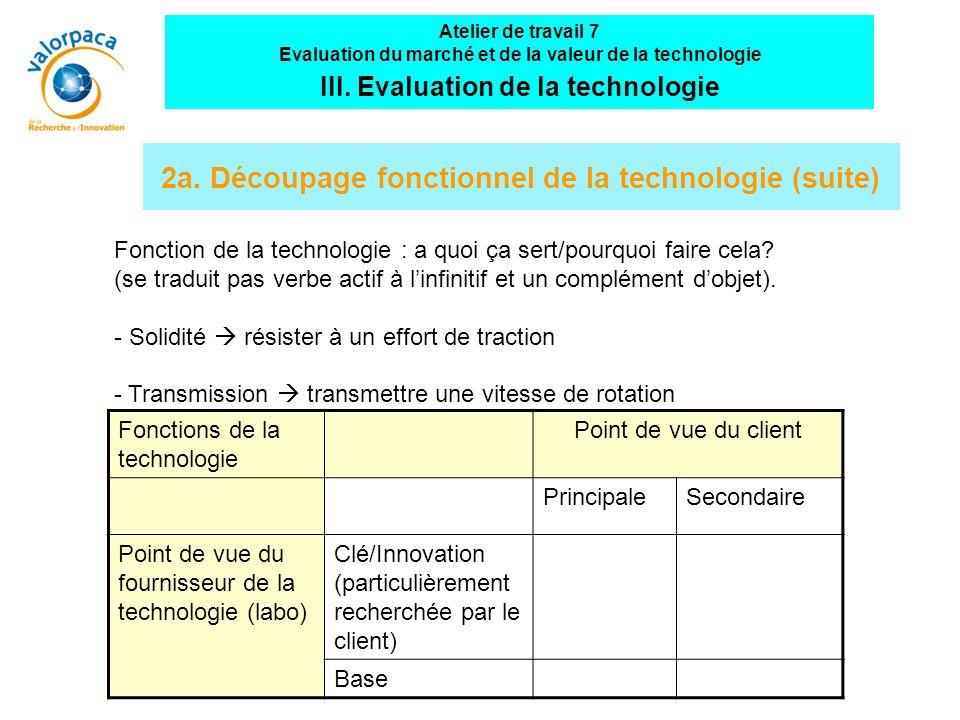 2a. Découpage fonctionnel de la technologie (suite)