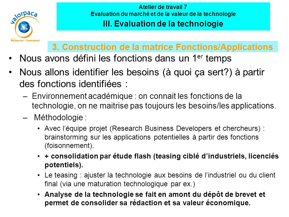 3. Construction de la matrice Fonctions/Applications