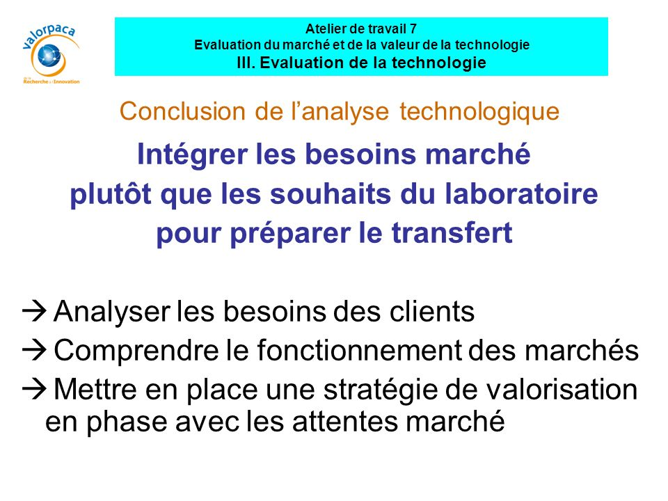 Conclusion de l'analyse technologique