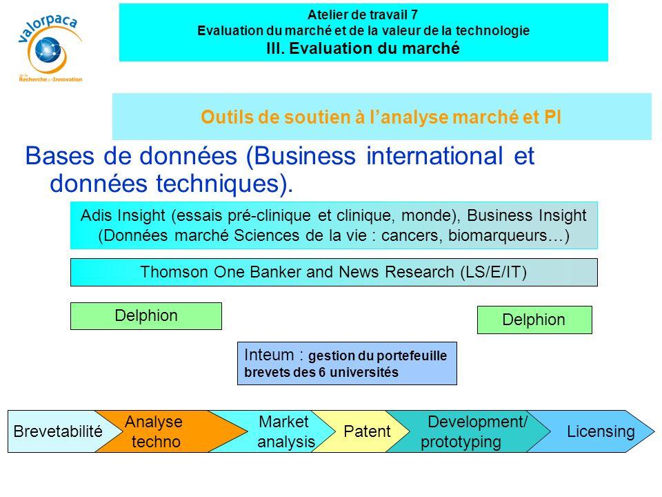 Outils de soutien à l'analyse marché et PI