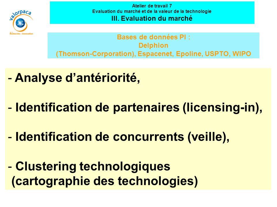 Analyse d'antériorité, Identification de partenaires (licensing-in),