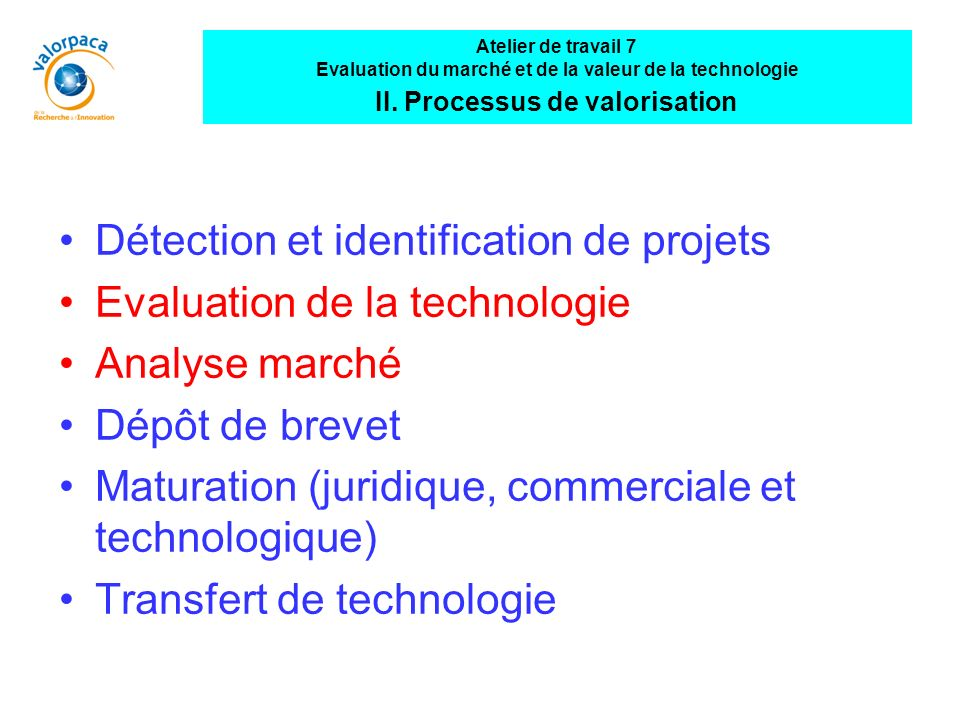 Détection et identification de projets Evaluation de la technologie
