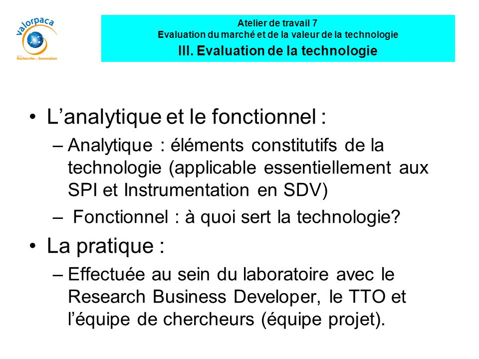 L'analytique et le fonctionnel :