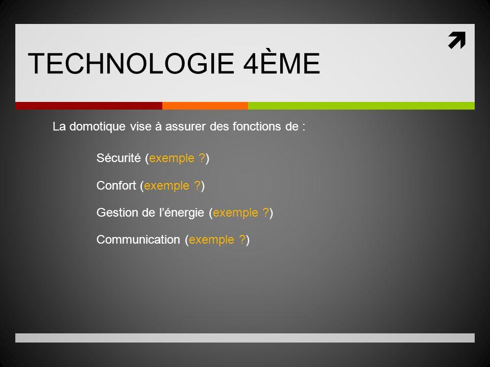 TECHNOLOGIE 4ÈME La domotique vise à assurer des fonctions de :