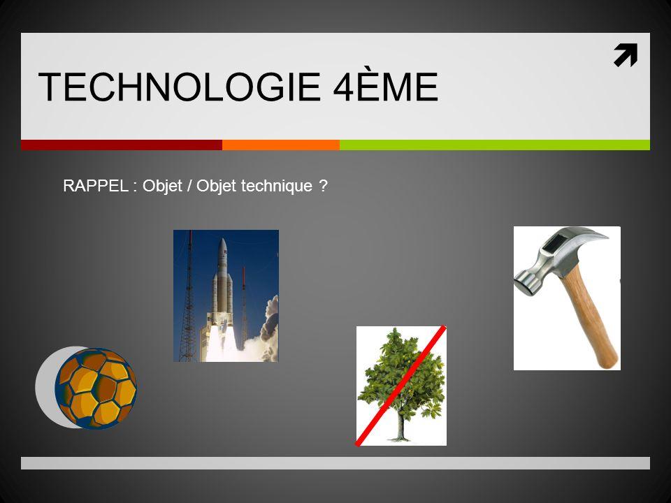 TECHNOLOGIE 4ÈME RAPPEL : Objet / Objet technique