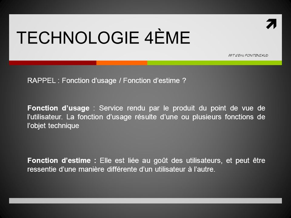 TECHNOLOGIE 4ÈME PPT d'Eric FONTENIAUD