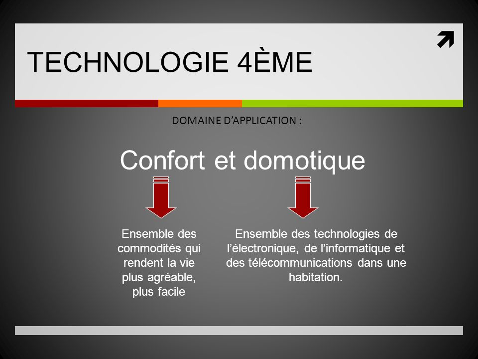 TECHNOLOGIE 4ÈME Confort et domotique DOMAINE D'APPLICATION :