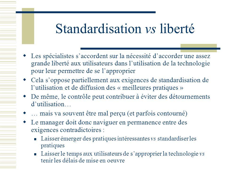Standardisation vs liberté