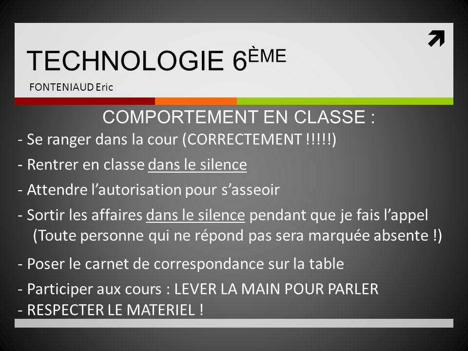 TECHNOLOGIE 6ÈME COMPORTEMENT EN CLASSE :