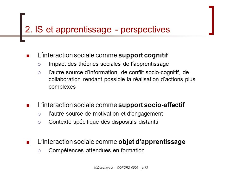 2. IS et apprentissage - perspectives