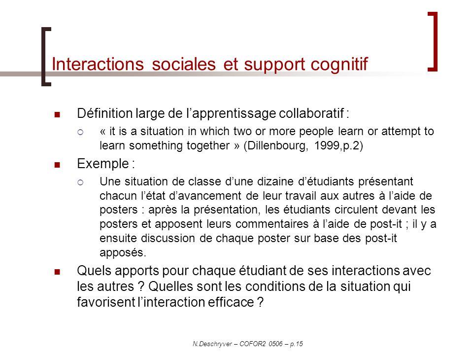 Interactions sociales et support cognitif