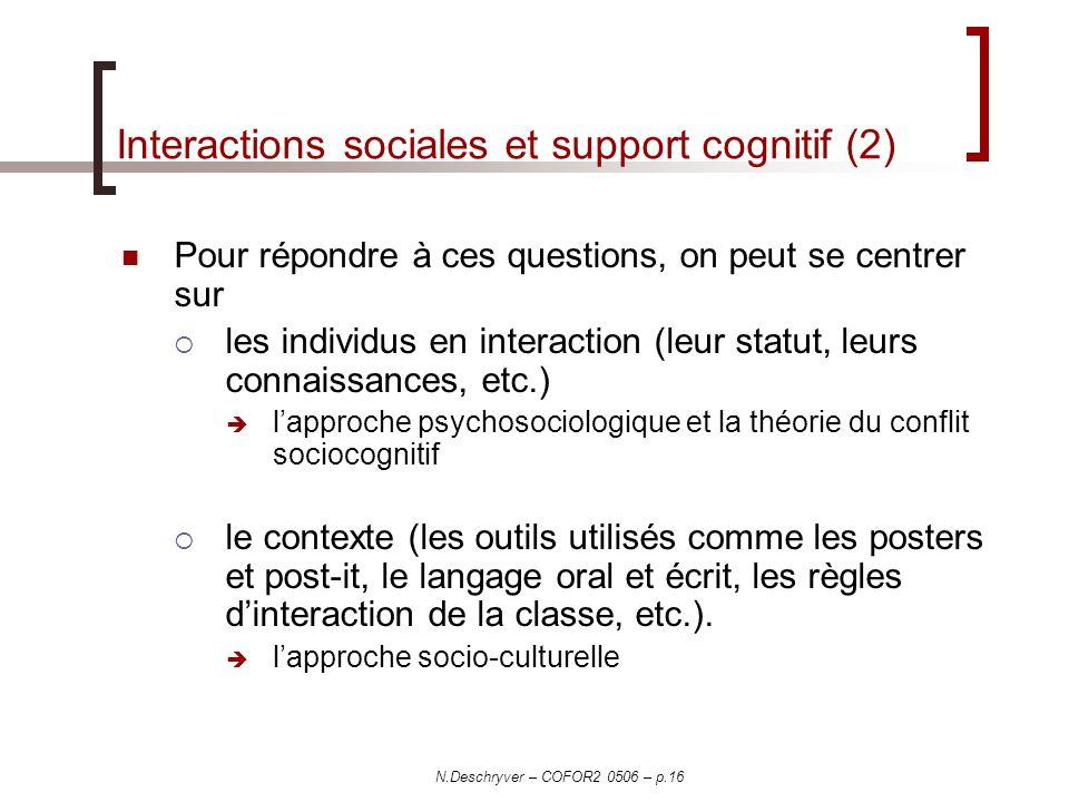 Interactions sociales et support cognitif (2)
