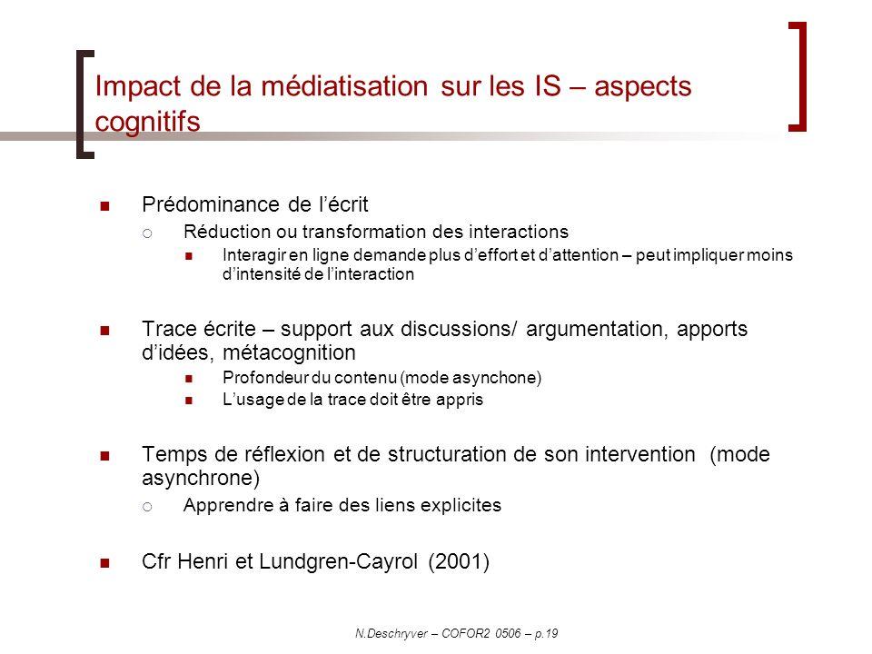 Impact de la médiatisation sur les IS – aspects cognitifs
