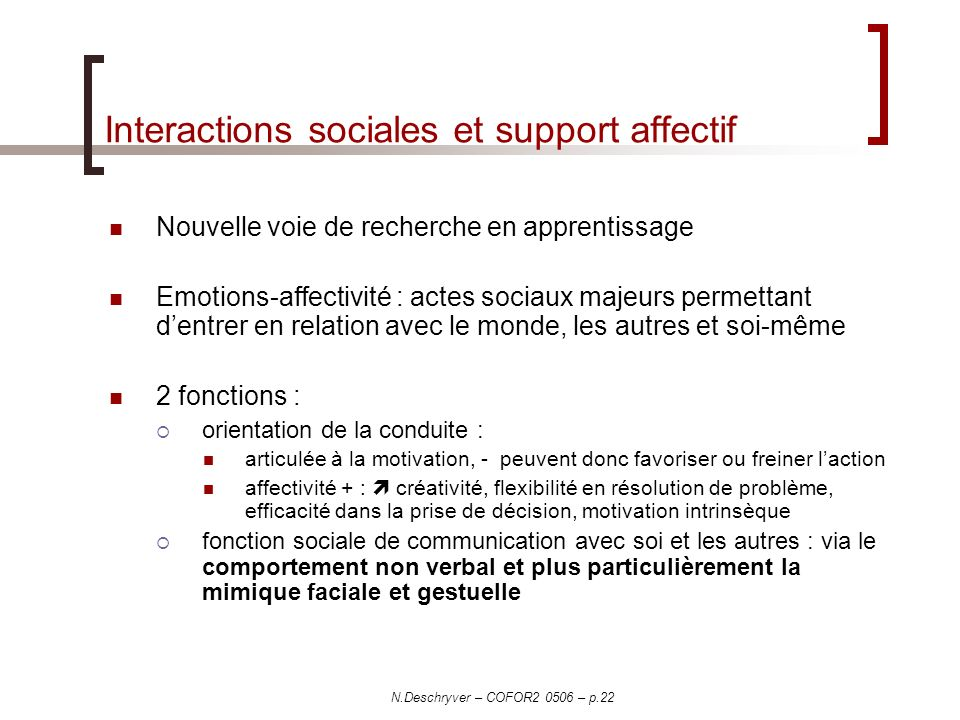 Interactions sociales et support affectif