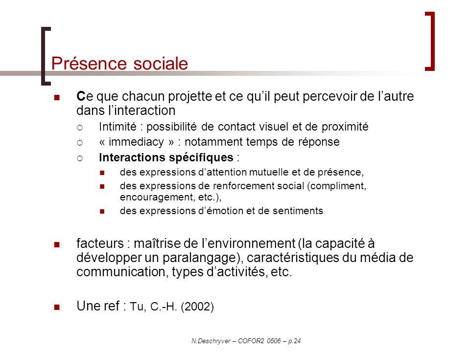 Présence sociale Ce que chacun projette et ce qu'il peut percevoir de l'autre dans l'interaction.