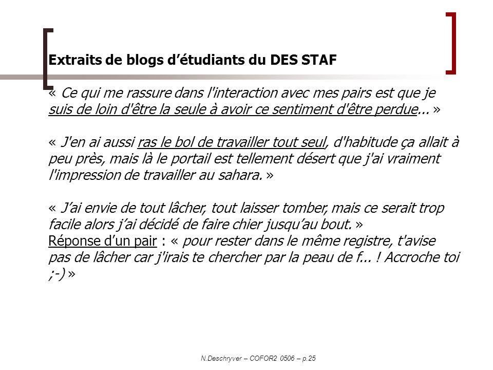 Extraits de blogs d'étudiants du DES STAF