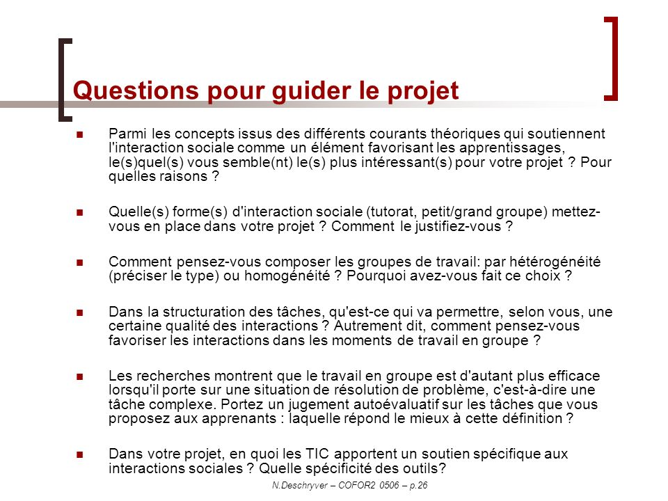 Questions pour guider le projet
