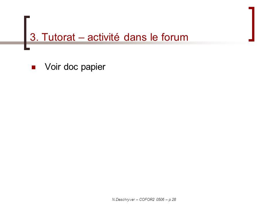 3. Tutorat – activité dans le forum