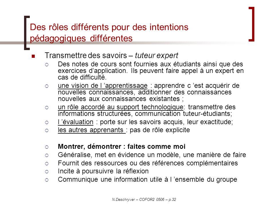 Des rôles différents pour des intentions pédagogiques différentes