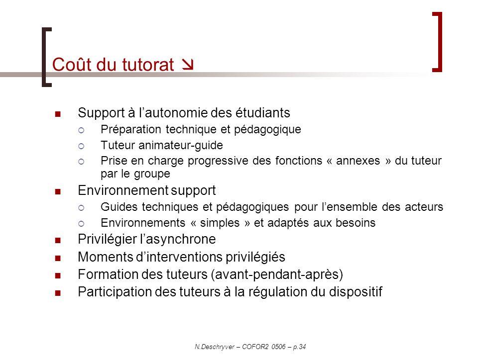 Coût du tutorat  Support à l'autonomie des étudiants
