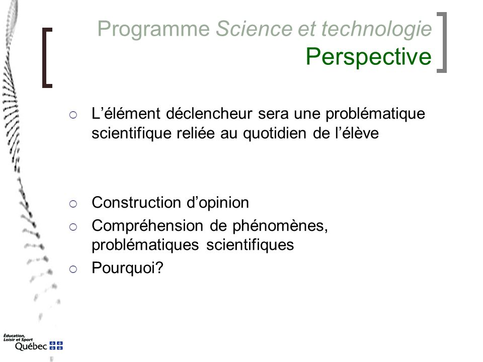 Programme Science et technologie Perspective