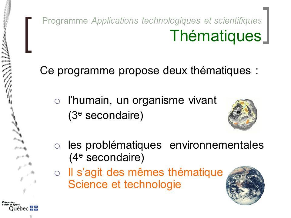 Programme Applications technologiques et scientifiques Thématiques