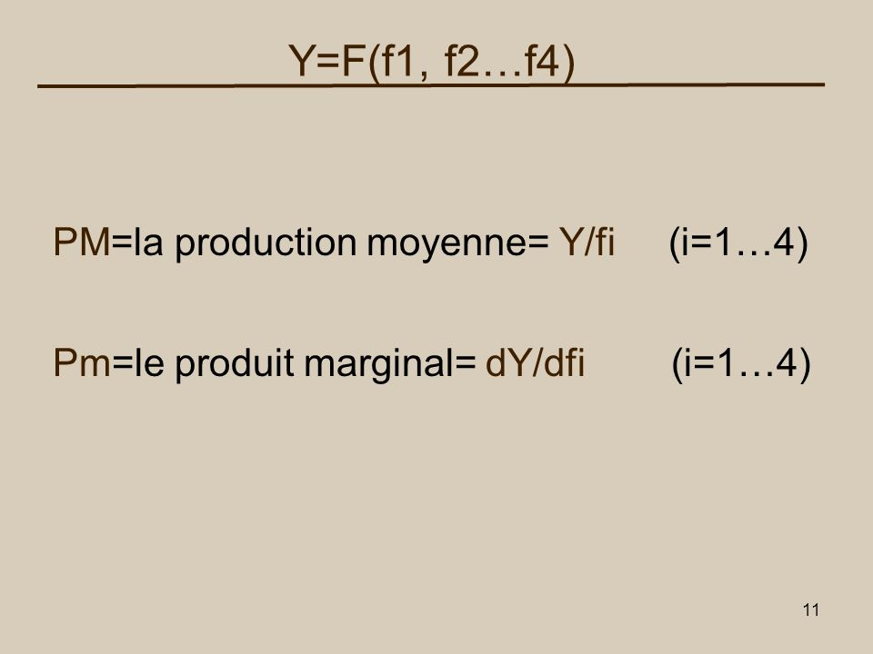 Y=F(f1, f2…f4) PM=la production moyenne= Y/fi (i=1…4)
