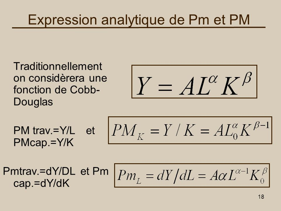 Expression analytique de Pm et PM