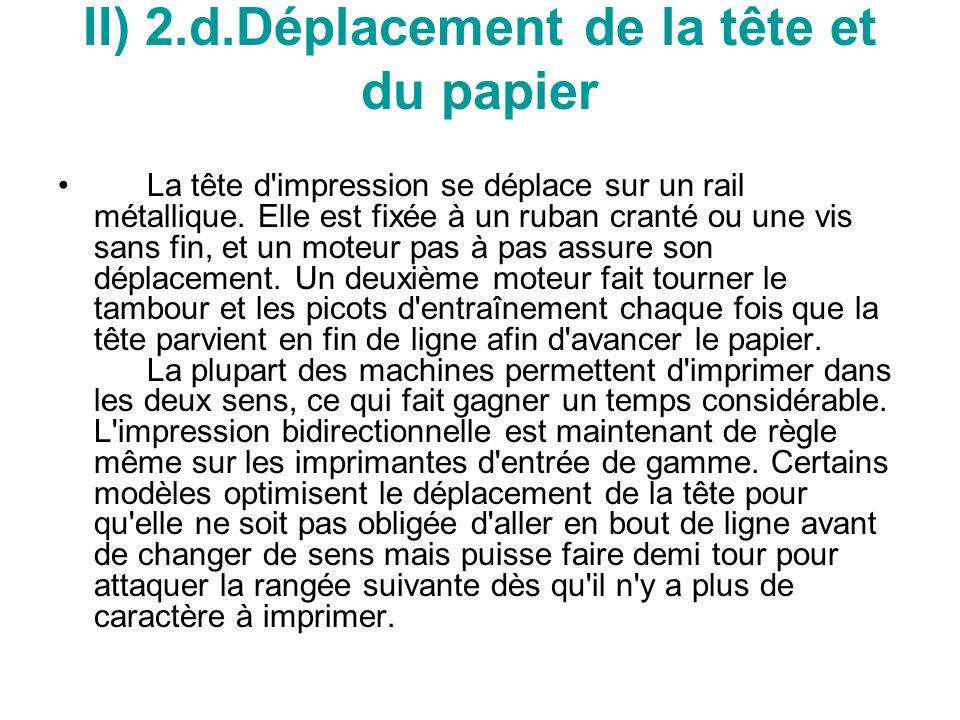 II) 2.d.Déplacement de la tête et du papier