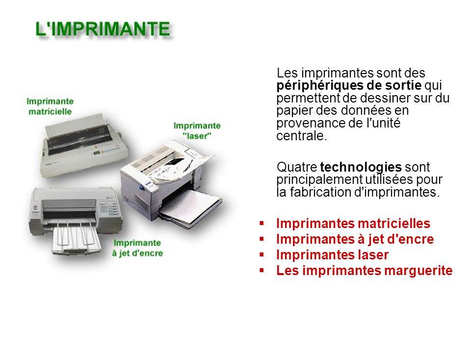 Les imprimantes sont des périphériques de sortie qui permettent de dessiner sur du papier des données en provenance de l unité centrale.