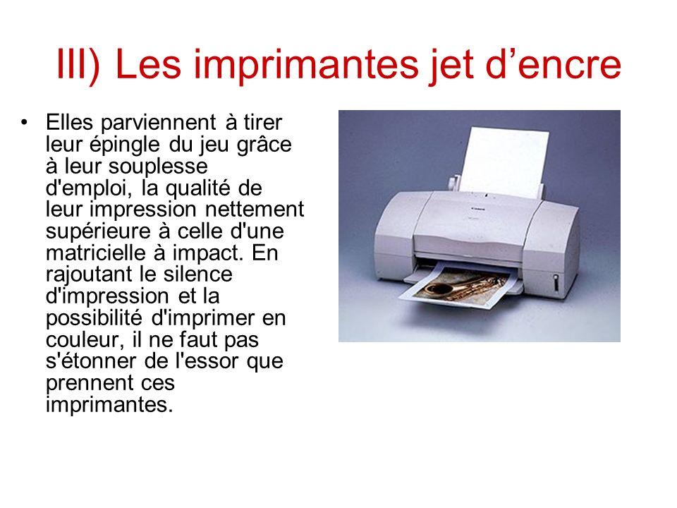 III) Les imprimantes jet d'encre