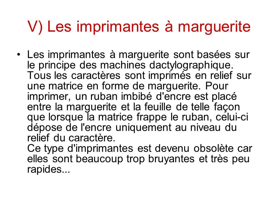V) Les imprimantes à marguerite
